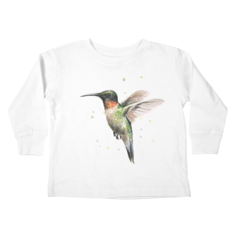 Hummingbird Watercolor Kids Toddler Longsleeve T-Shirt by Art by Olga Shvartsur