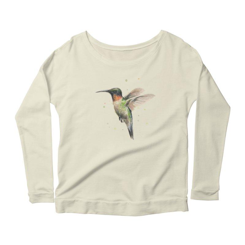 Hummingbird Watercolor Women's Longsleeve Scoopneck  by Art by Olga Shvartsur