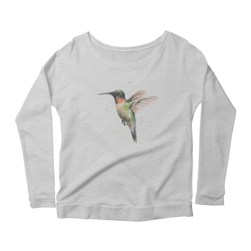 Hummingbird Watercolor Women's Longsleeve T-Shirt by Art by Olga Shvartsur