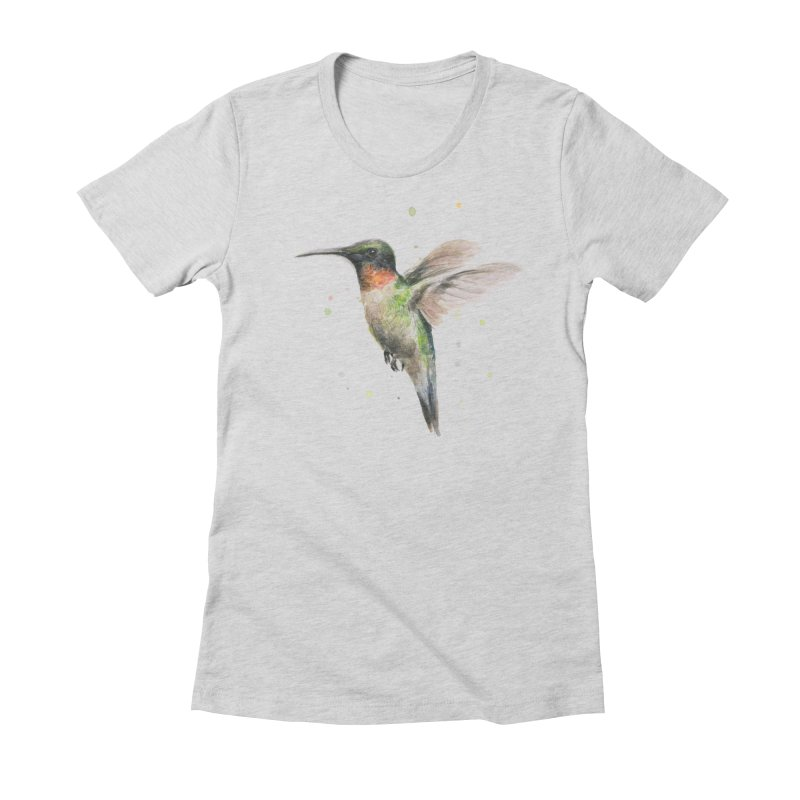 Hummingbird Watercolor Women's Fitted T-Shirt by Art by Olga Shvartsur