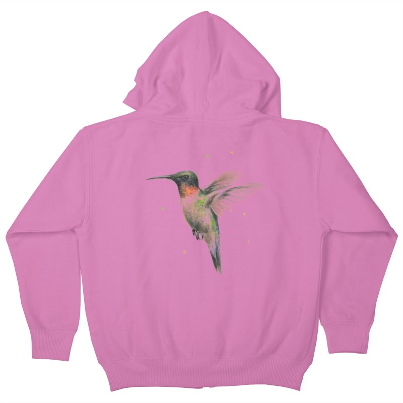Hummingbird Watercolor Kids Zip-Up Hoody by Art by Olga Shvartsur