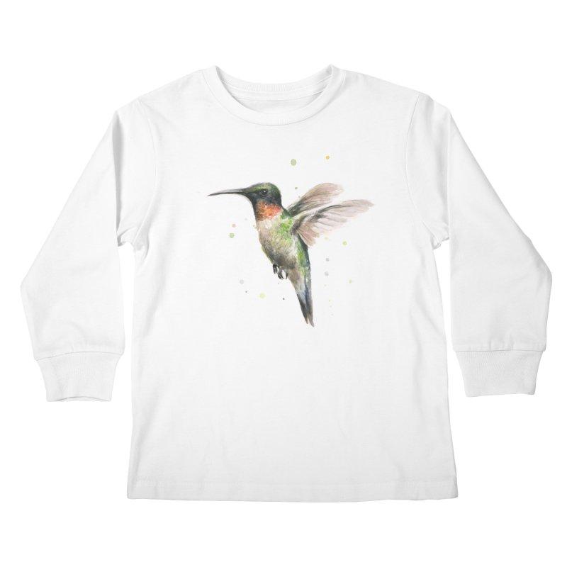 Hummingbird Watercolor Kids Longsleeve T-Shirt by Art by Olga Shvartsur