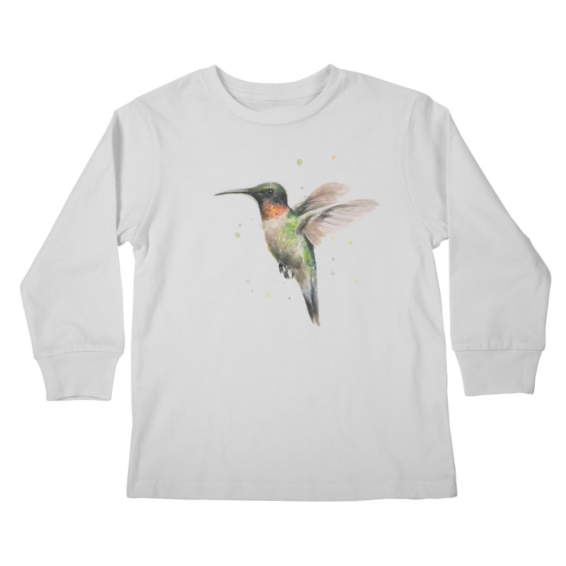 Hummingbird Watercolor Kids Longsleeve T-Shirt by Art by Olga Shvartsur