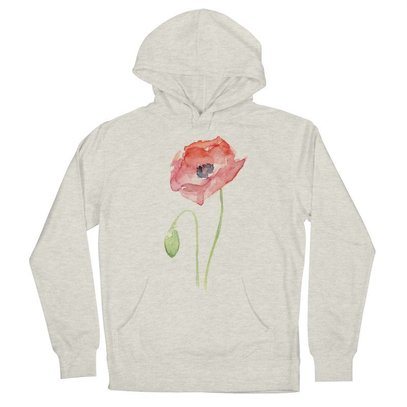 Red Poppy Men's Pullover Hoody by Art by Olga Shvartsur