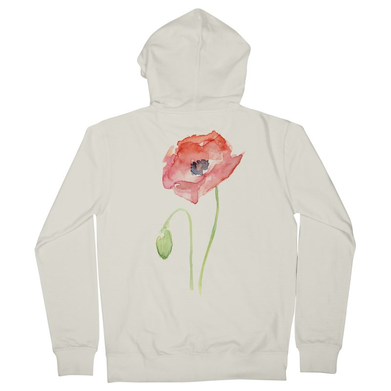 Red Poppy Women's Zip-Up Hoody by Art by Olga Shvartsur