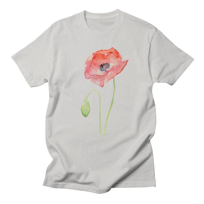 Red Poppy Men's T-shirt by Art by Olga Shvartsur