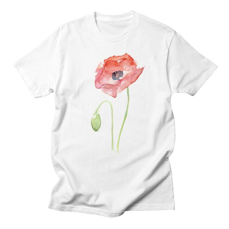 Red Poppy Men's Regular T-Shirt by Art by Olga Shvartsur