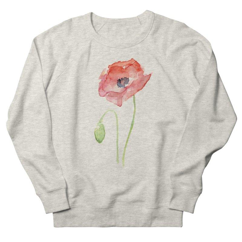 Red Poppy Women's French Terry Sweatshirt by Art by Olga Shvartsur