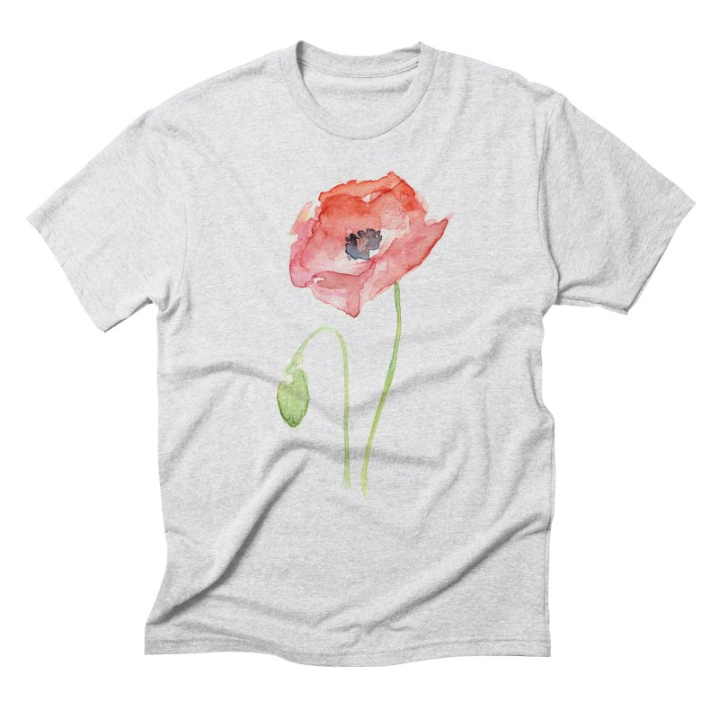 Red Poppy Men's Triblend T-Shirt by Art by Olga Shvartsur