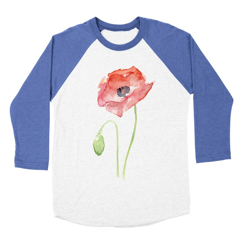 Red Poppy Women's Baseball Triblend T-Shirt by Art by Olga Shvartsur