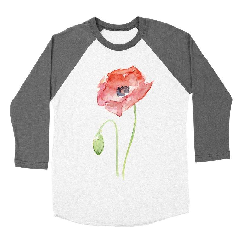 Red Poppy Women's Baseball Triblend Longsleeve T-Shirt by Art by Olga Shvartsur