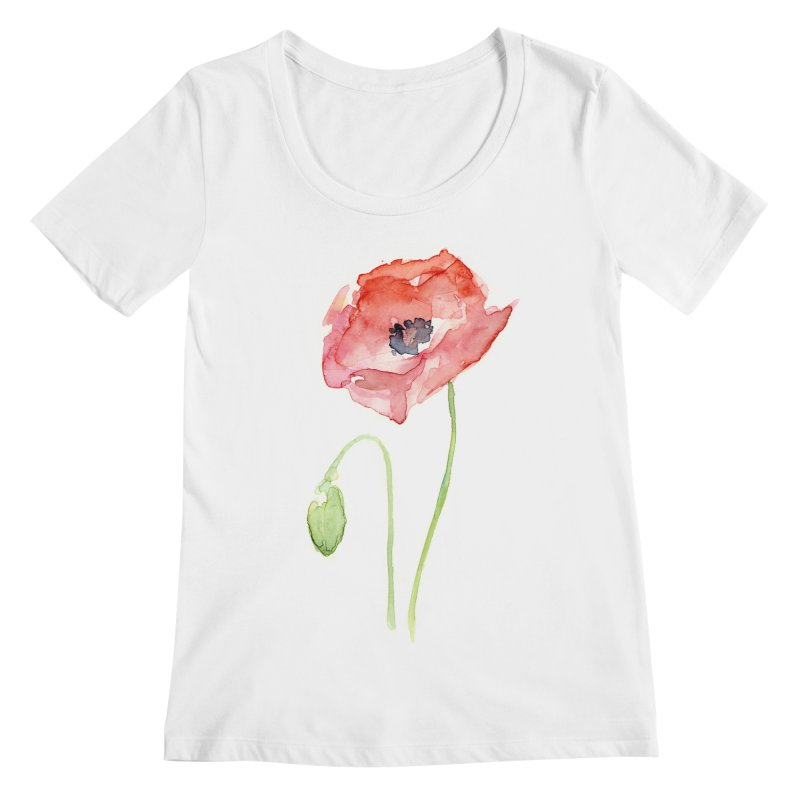 Red Poppy Women's Regular Scoop Neck by Art by Olga Shvartsur