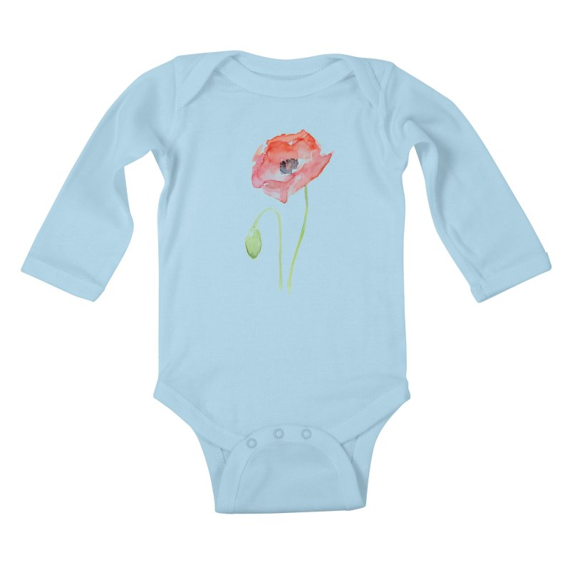 Red Poppy Kids Baby Longsleeve Bodysuit by Art by Olga Shvartsur