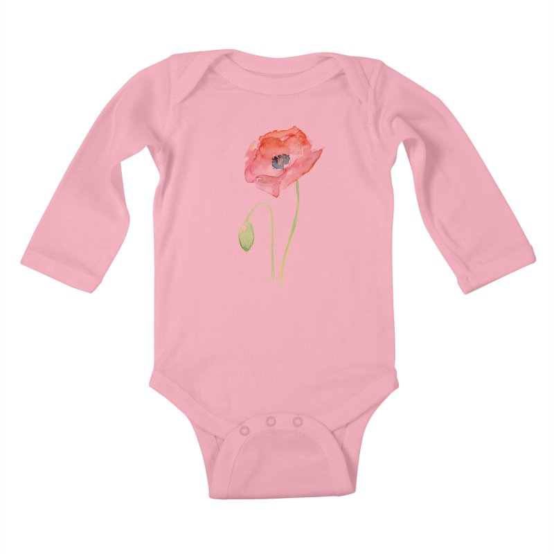 Red Poppy Kids Baby Longsleeve Bodysuit by Art by Olga Shvartsur