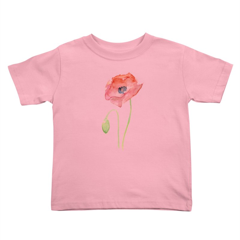 Red Poppy Kids Toddler T-Shirt by Art by Olga Shvartsur
