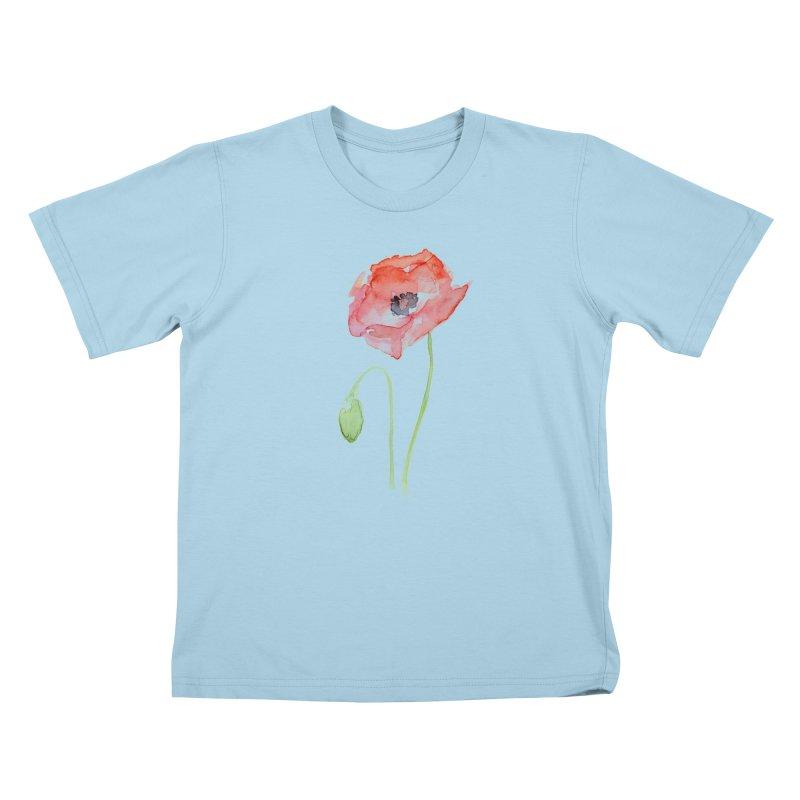 Red Poppy Kids T-Shirt by Art by Olga Shvartsur