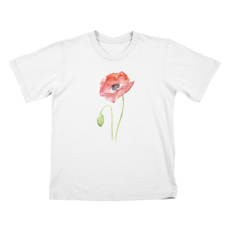 Red Poppy Kids T-Shirt by Art by Olga Shvartsur