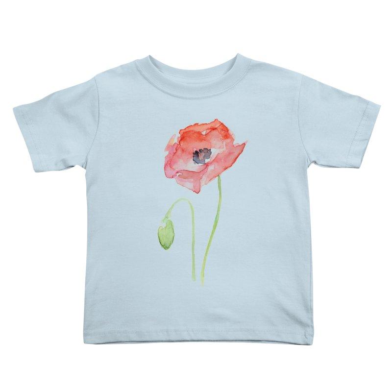 Red Poppy Kids Toddler T-Shirt by Art by Olga Shvartsur