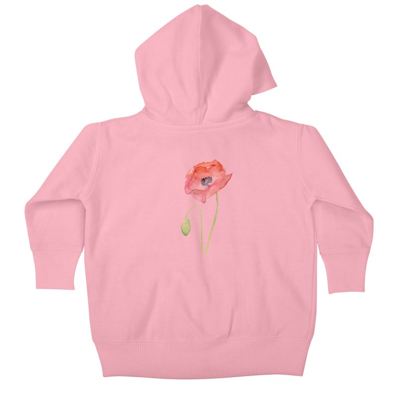 Red Poppy Kids Baby Zip-Up Hoody by Art by Olga Shvartsur