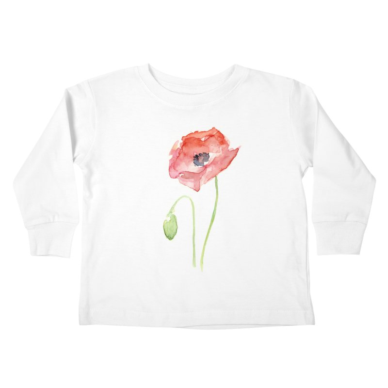 Red Poppy Kids Toddler Longsleeve T-Shirt by Art by Olga Shvartsur