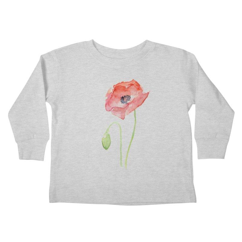 Red Poppy Kids Toddler Longsleeve T-Shirt by Art by Olga Shvartsur