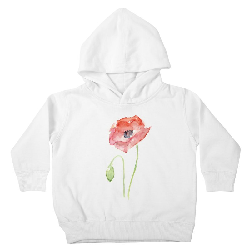 Red Poppy Kids Toddler Pullover Hoody by Art by Olga Shvartsur