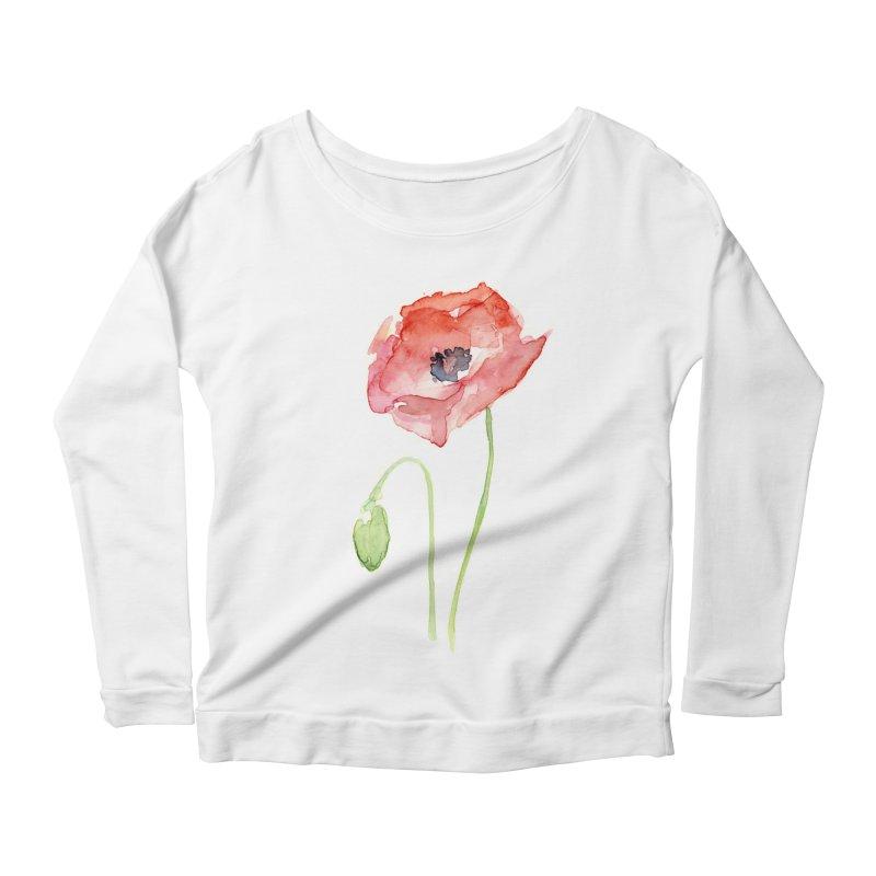 Red Poppy Women's Scoop Neck Longsleeve T-Shirt by Art by Olga Shvartsur