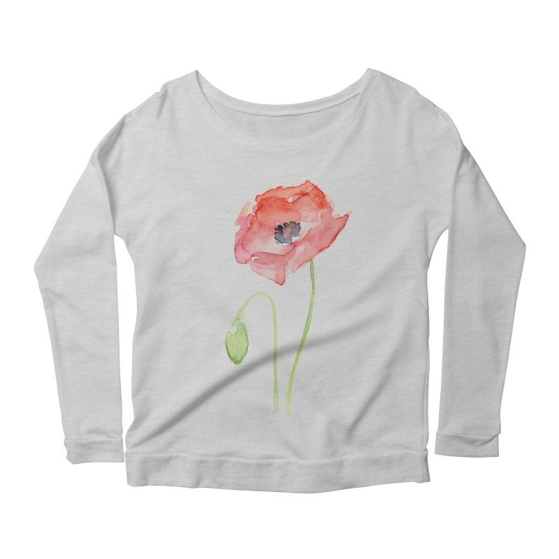 Red Poppy Women's Scoop Neck Longsleeve T-Shirt by Art by Olga Shvartsur