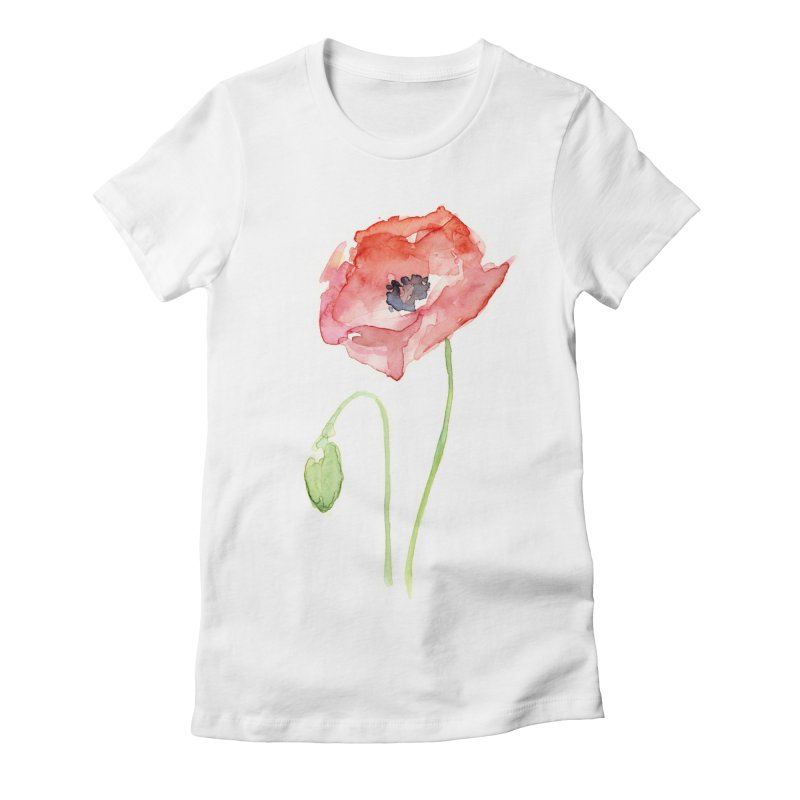 Red Poppy Women's Fitted T-Shirt by Art by Olga Shvartsur