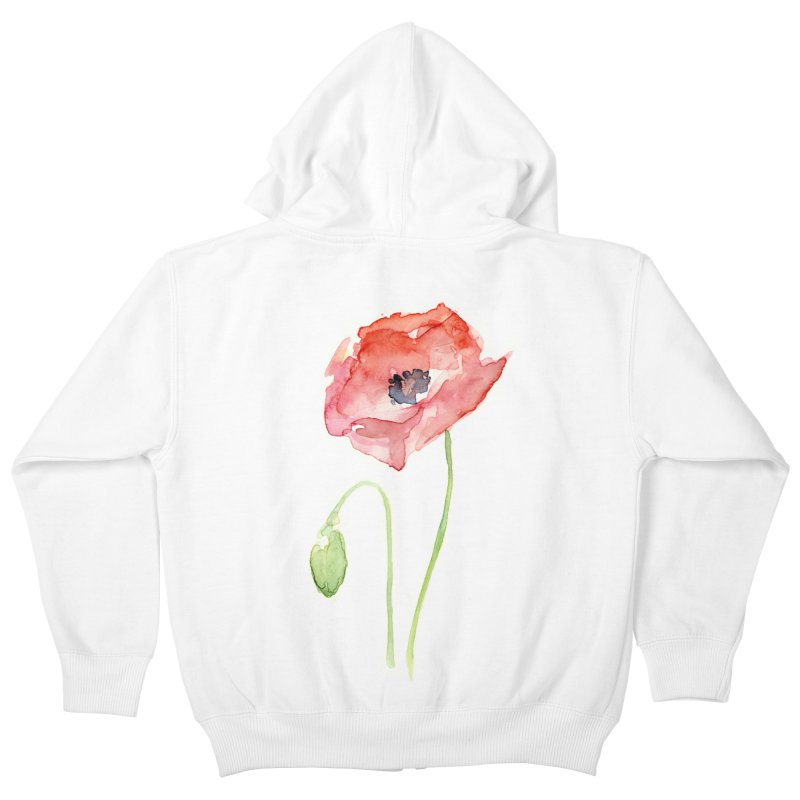 Red Poppy Kids Zip-Up Hoody by Art by Olga Shvartsur