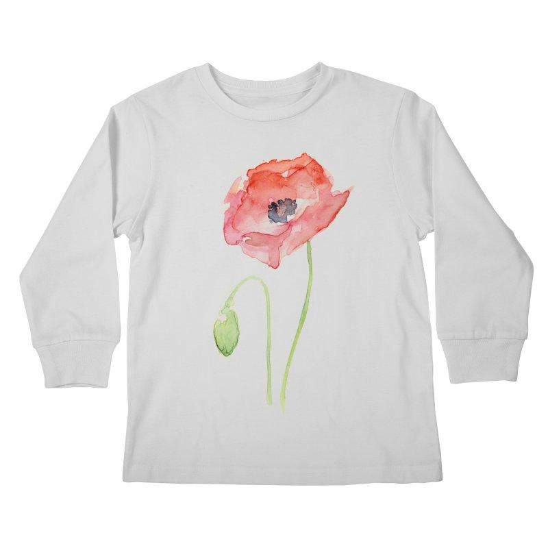 Red Poppy Kids Longsleeve T-Shirt by Art by Olga Shvartsur