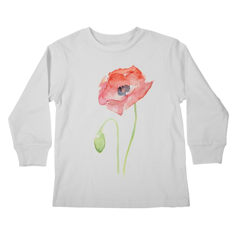 Red Poppy Kids Longsleeve T-Shirt by Art by Olga Shvartsur