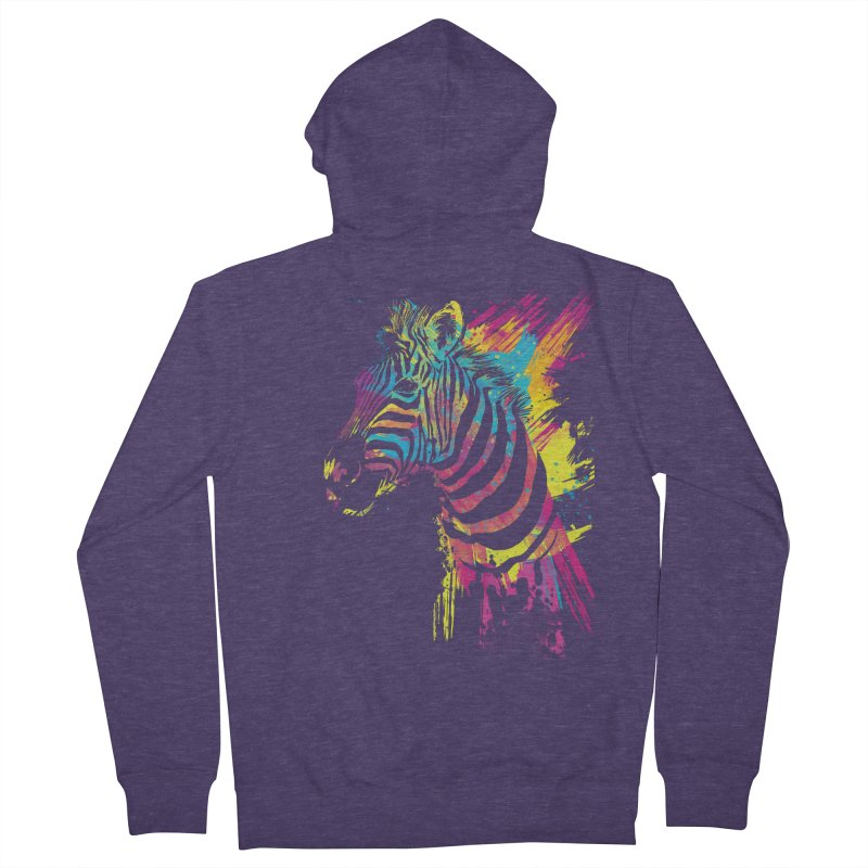 Zebra Splatters Men's French Terry Zip-Up Hoody by Art by Olga Shvartsur