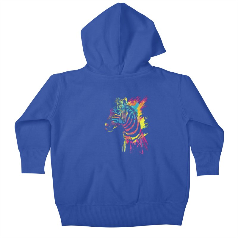 Zebra Splatters Kids Baby Zip-Up Hoody by Art by Olga Shvartsur