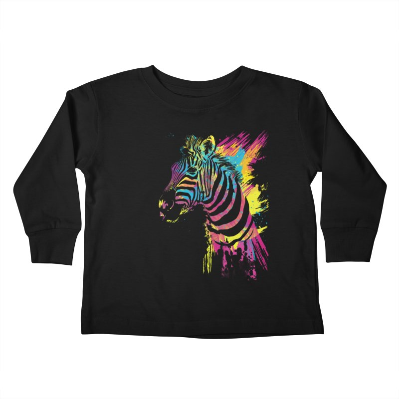 Zebra Splatters Kids Toddler Longsleeve T-Shirt by Art by Olga Shvartsur