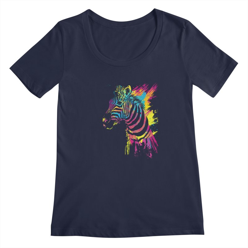 Zebra Splatters Women's Regular Scoop Neck by Art by Olga Shvartsur