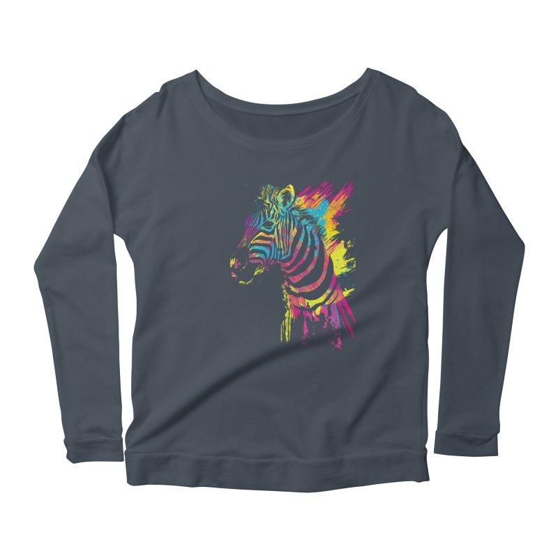 Zebra Splatters Women's Scoop Neck Longsleeve T-Shirt by Art by Olga Shvartsur