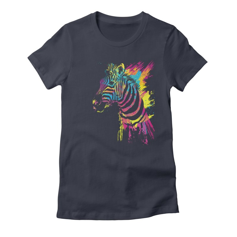 Zebra Splatters Women's Fitted T-Shirt by Art by Olga Shvartsur