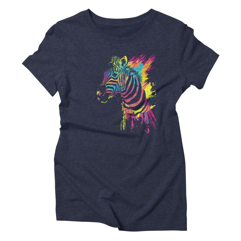 Zebra Splatters Women's Triblend T-Shirt by Art by Olga Shvartsur