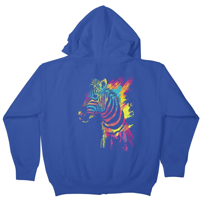 Zebra Splatters Kids Zip-Up Hoody by Art by Olga Shvartsur