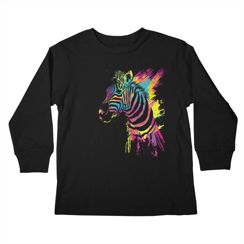 Zebra Splatters Kids Longsleeve T-Shirt by Art by Olga Shvartsur