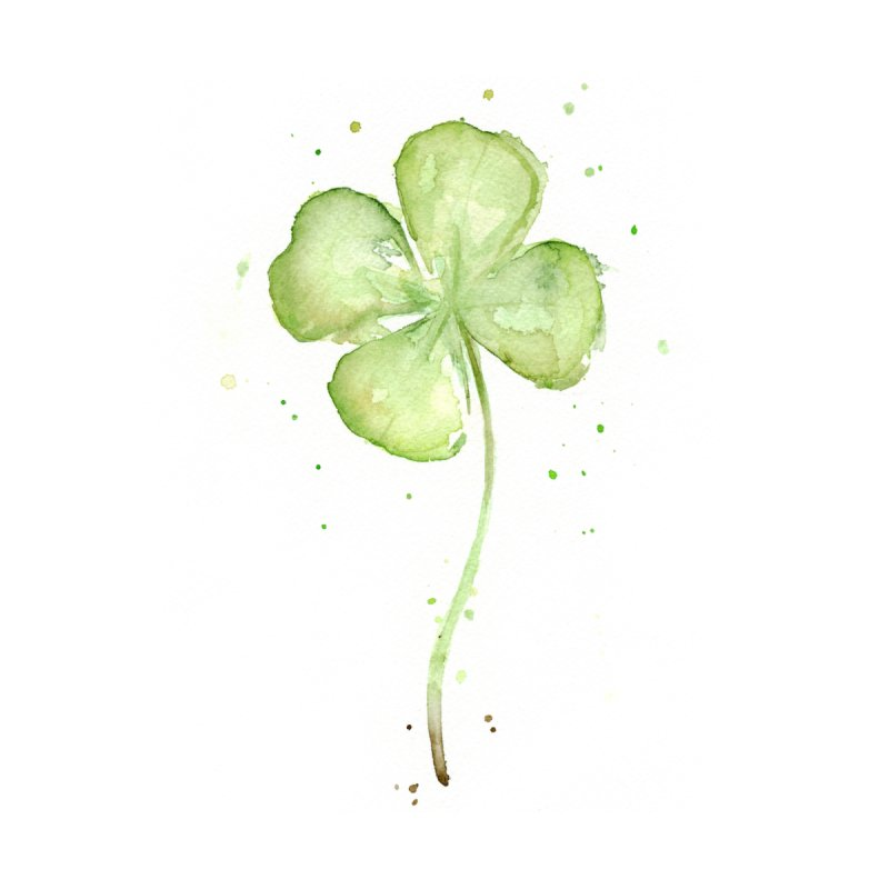 Lucky Charm - Four Leaf Clover None  by Art by Olga Shvartsur