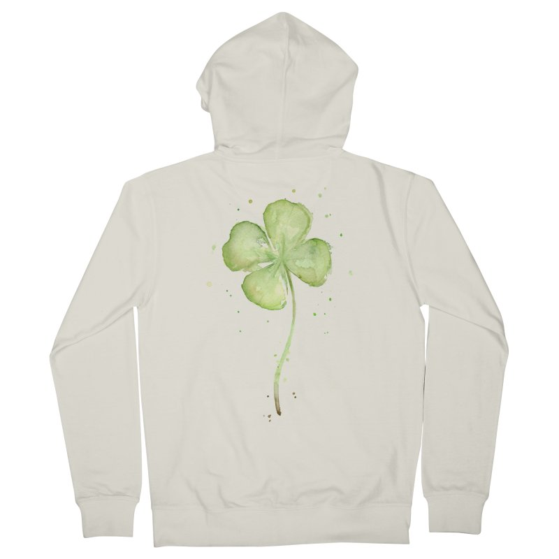Lucky Charm - Four Leaf Clover Men's French Terry Zip-Up Hoody by Art by Olga Shvartsur