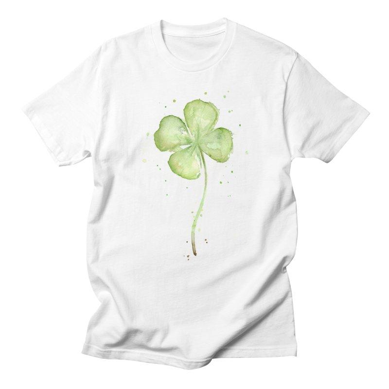 Lucky Charm - Four Leaf Clover Men's Regular T-Shirt by Art by Olga Shvartsur