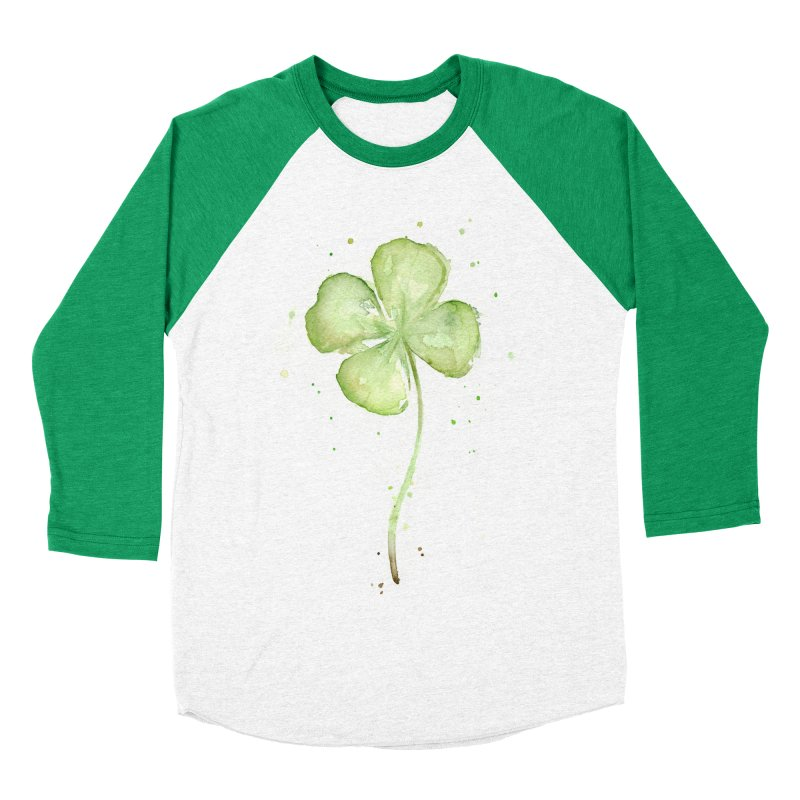 Lucky Charm - Four Leaf Clover Women's Baseball Triblend Longsleeve T-Shirt by Art by Olga Shvartsur