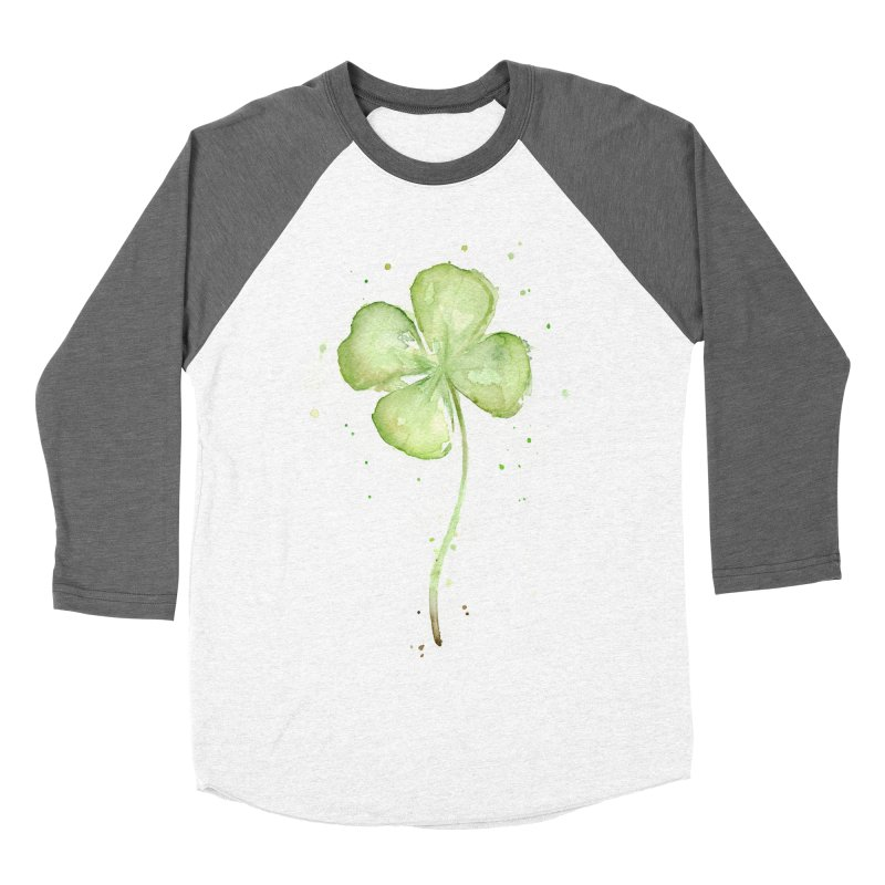 Lucky Charm - Four Leaf Clover Men's Baseball Triblend T-Shirt by Art by Olga Shvartsur