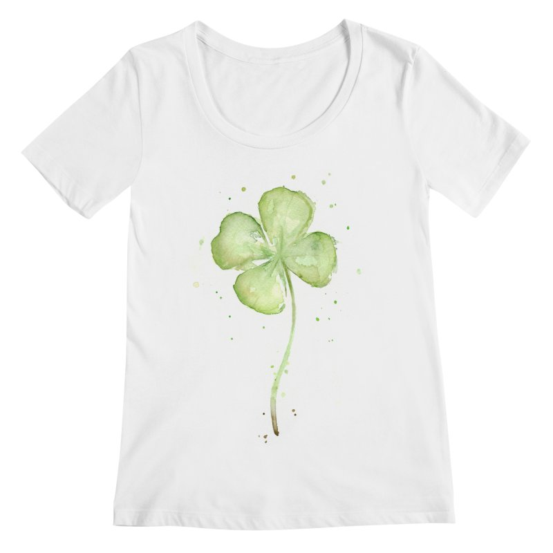 Lucky Charm - Four Leaf Clover Women's Regular Scoop Neck by Art by Olga Shvartsur