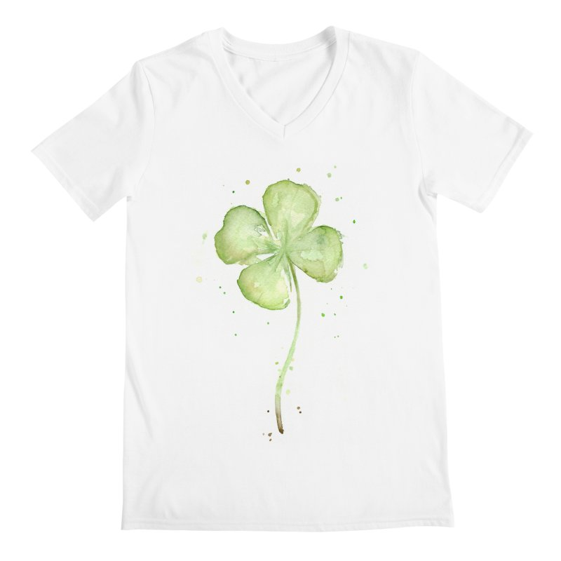 Lucky Charm - Four Leaf Clover Men's V-Neck by Art by Olga Shvartsur