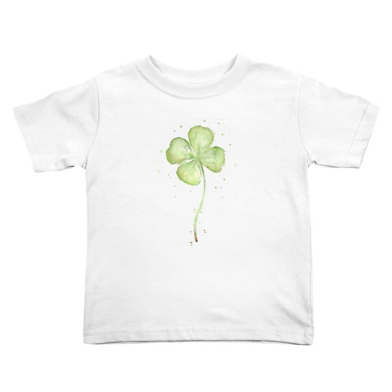 Lucky Charm - Four Leaf Clover Kids Toddler T-Shirt by Art by Olga Shvartsur
