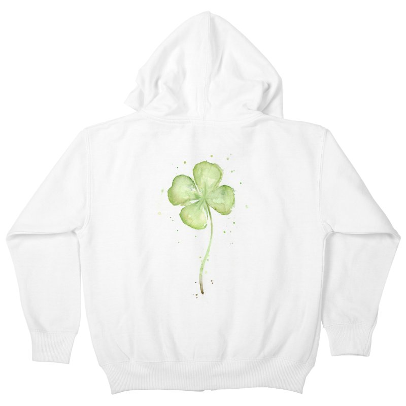 Lucky Charm - Four Leaf Clover Kids Zip-Up Hoody by Art by Olga Shvartsur